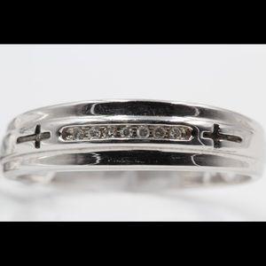 Accessories - Mens 10K White Gold Diamond Wedding Ring Band NEW